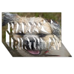 Border Terrier Happy Birthday 3D Greeting Card (8x4)