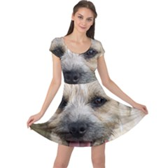 Border Terrier Cap Sleeve Dresses
