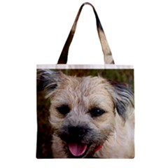 Border Terrier Zipper Grocery Tote Bags