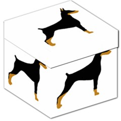 Doberman Pinscher black and tan silhouette Storage Stool 12