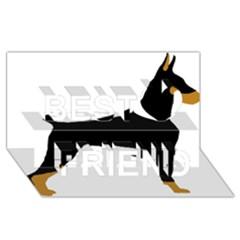 Doberman Pinscher black and tan silhouette Best Friends 3D Greeting Card (8x4)