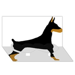 Doberman Pinscher black and tan silhouette Twin Heart Bottom 3D Greeting Card (8x4)