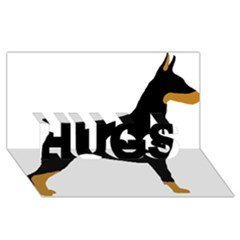 Doberman Pinscher black and tan silhouette HUGS 3D Greeting Card (8x4)