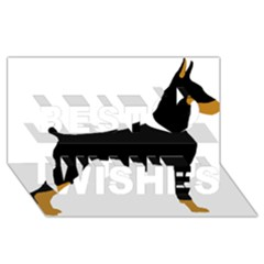 Doberman Pinscher black and tan silhouette Best Wish 3D Greeting Card (8x4)
