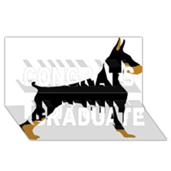 Doberman Pinscher black and tan silhouette Congrats Graduate 3D Greeting Card (8x4)