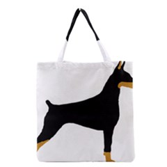 Doberman Pinscher Black And Tan Silhouette Grocery Tote Bags