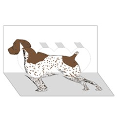 German Shorthair Pointer Silo Color Twin Hearts 3D Greeting Card (8x4)