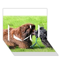 2 Newfies I Love You 3D Greeting Card (7x5)
