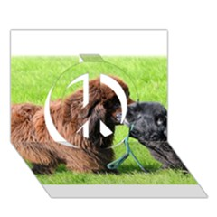 2 Newfies Peace Sign 3D Greeting Card (7x5)