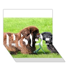 2 Newfies HOPE 3D Greeting Card (7x5)