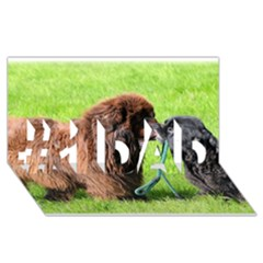 2 Newfies #1 DAD 3D Greeting Card (8x4)