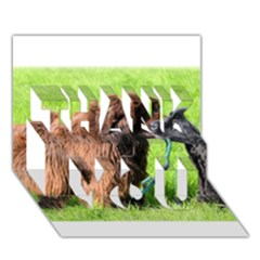 2 Newfies THANK YOU 3D Greeting Card (7x5)