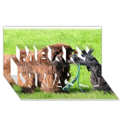 2 Newfies Merry Xmas 3D Greeting Card (8x4)
