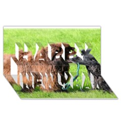2 Newfies Happy New Year 3D Greeting Card (8x4)