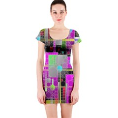Crazy Abstract  Short Sleeve Bodycon Dresses