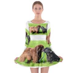 2 Newfies Long Sleeve Skater Dress