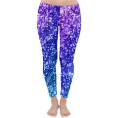 Glitter Ocean Bokeh Winter Leggings