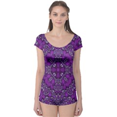 Crazy Beautiful Abstract  Short Sleeve Leotard