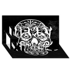 Skull Merry Xmas 3D Greeting Card (8x4)