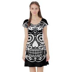 Skull Short Sleeve Skater Dresses