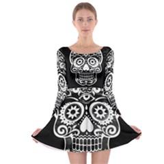 Skull Long Sleeve Skater Dress