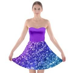 Glitter Ocean Bokeh Strapless Bra Top Dress
