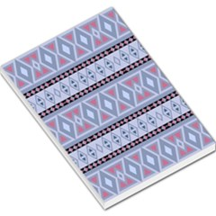 Fancy Tribal Border Pattern Blue Large Memo Pads