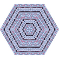 Fancy Tribal Border Pattern Blue Mini Folding Umbrellas