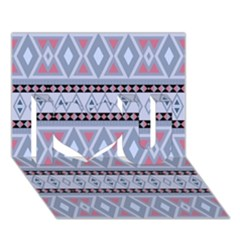 Fancy Tribal Border Pattern Blue I Love You 3D Greeting Card (7x5)