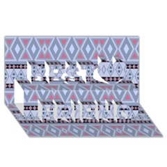 Fancy Tribal Border Pattern Blue Best Friends 3d Greeting Card (8x4)
