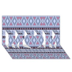 Fancy Tribal Border Pattern Blue MOM 3D Greeting Card (8x4)
