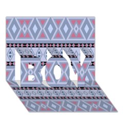 Fancy Tribal Border Pattern Blue Boy 3d Greeting Card (7x5)