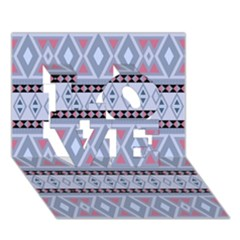 Fancy Tribal Border Pattern Blue LOVE 3D Greeting Card (7x5)