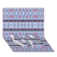 Fancy Tribal Border Pattern Blue LOVE Bottom 3D Greeting Card (7x5)