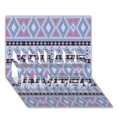 Fancy Tribal Border Pattern Blue YOU ARE INVITED 3D Greeting Card (7x5)