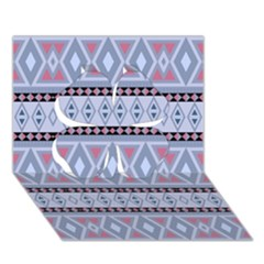 Fancy Tribal Border Pattern Blue Clover 3d Greeting Card (7x5)