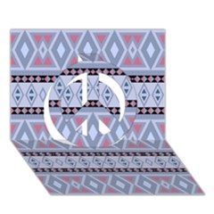 Fancy Tribal Border Pattern Blue Peace Sign 3D Greeting Card (7x5)