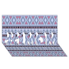 Fancy Tribal Border Pattern Blue #1 MOM 3D Greeting Cards (8x4)