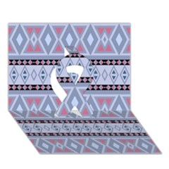 Fancy Tribal Border Pattern Blue Ribbon 3D Greeting Card (7x5)