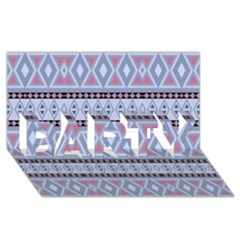 Fancy Tribal Border Pattern Blue PARTY 3D Greeting Card (8x4)