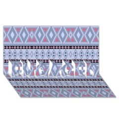 Fancy Tribal Border Pattern Blue ENGAGED 3D Greeting Card (8x4)