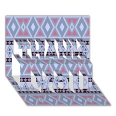 Fancy Tribal Border Pattern Blue Thank You 3d Greeting Card (7x5)