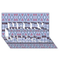 Fancy Tribal Border Pattern Blue Merry Xmas 3D Greeting Card (8x4)