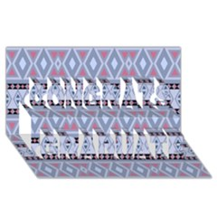 Fancy Tribal Border Pattern Blue Congrats Graduate 3D Greeting Card (8x4)