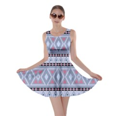 Fancy Tribal Border Pattern Blue Skater Dresses