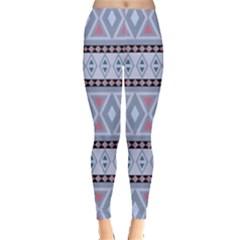 Fancy Tribal Border Pattern Blue Women s Leggings