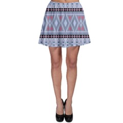 Fancy Tribal Border Pattern Blue Skater Skirts