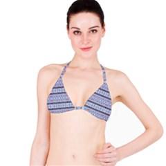 Fancy Tribal Border Pattern Blue Bikini Tops