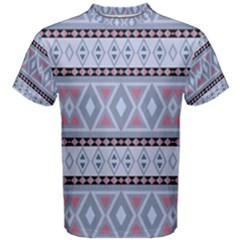 Fancy Tribal Border Pattern Blue Men s Cotton Tees