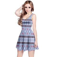 Fancy Tribal Border Pattern Blue Reversible Sleeveless Dresses